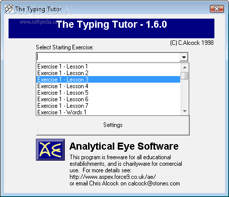 analytical eye typing tutor