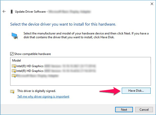 select the device drive you want to install for this hardware