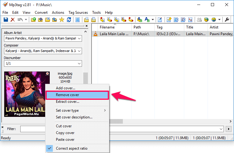 how to remove mp3 background images embedded in mp3 files