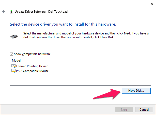 how to fix lenovo touchpad not working in windows 10
