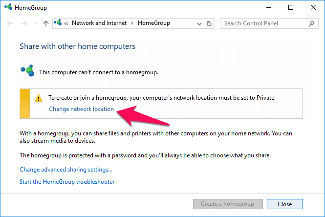 change network from public to private windows 10