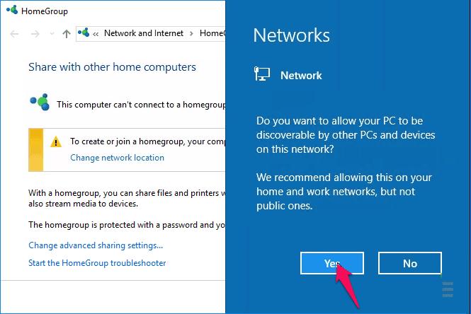 change network type windows 10