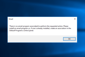 there is no email program associated to perform the requested action