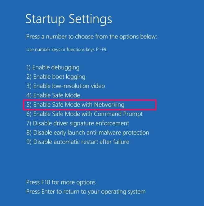 enter safe mode networking
