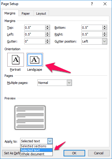 how to make one page landscape in word 2013