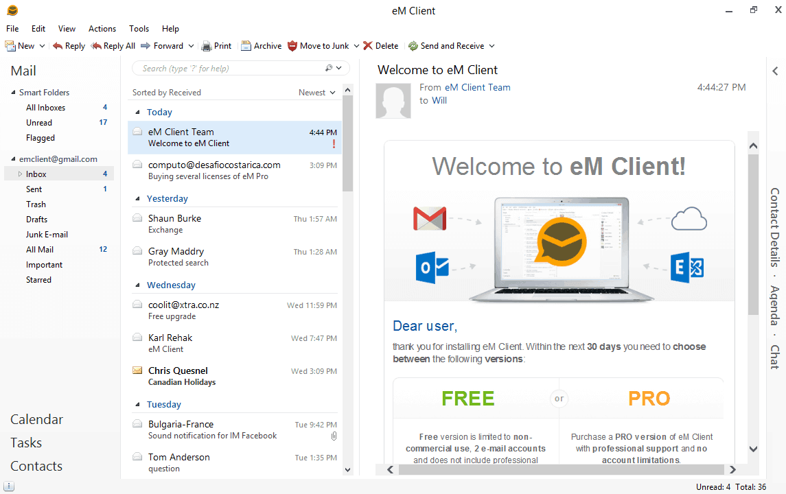 em client for windows 10