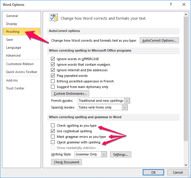 how to remove red lines in word 2010