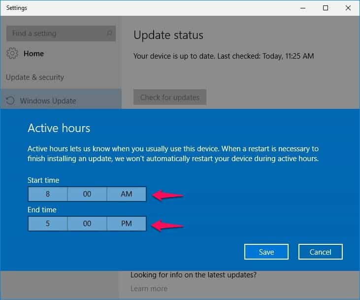 how to stop windows 10 from automatically restarting