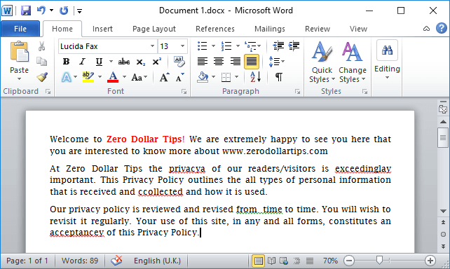 how to turn off red underline in word 2013