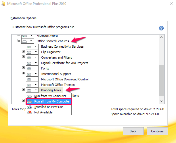 how to change spell check language in word