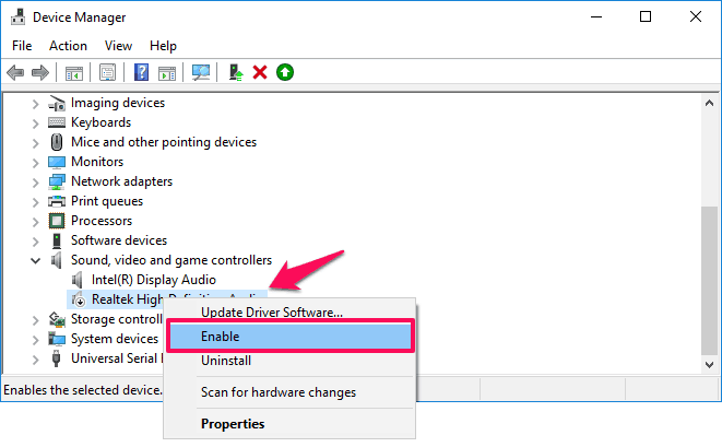 windows 10 no audio output device is installed