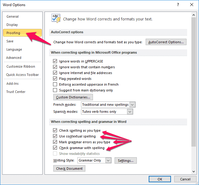 word spell check not working 2010