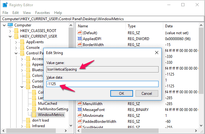 how to resize icons and their spacing in windows 10
