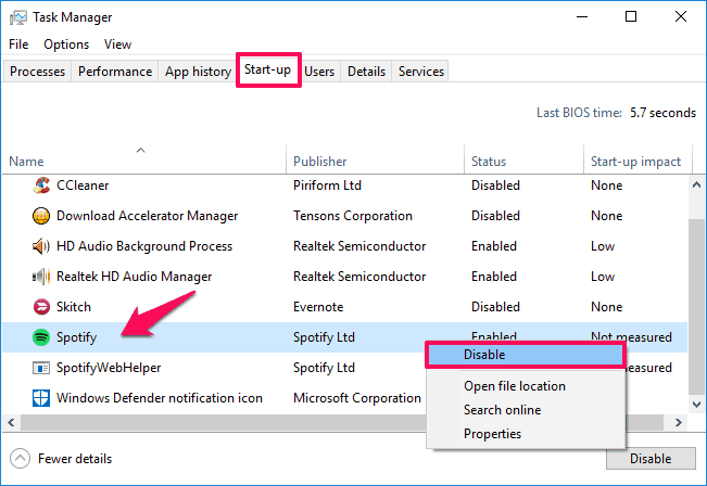 how to stop spotify from opening on startup windows 10