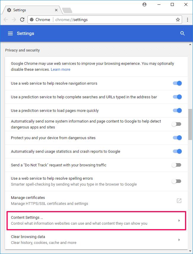 chrome settings content