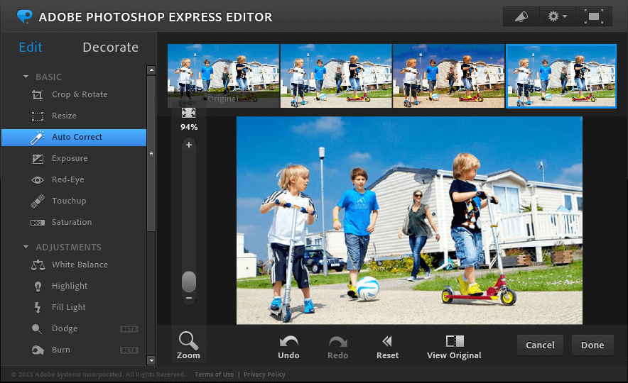 Photoshop Express editor