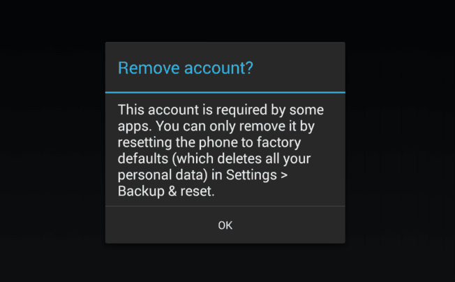 remove gmail account from android phone after factory reset