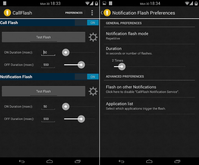 enable flash notification on android
