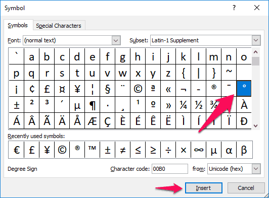 how to insert degree symbol in excel