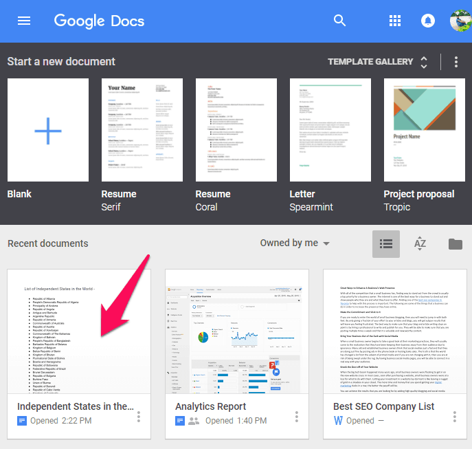 alphabetize in google docs