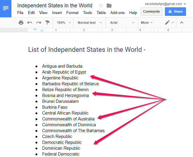 how to alphabetize in google docs document