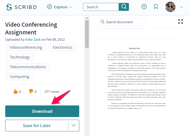 how to download scribd documents