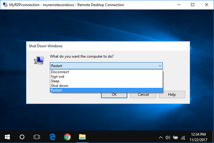 How to Shutdown or Restart Remote Desktop Windows 10 PC
