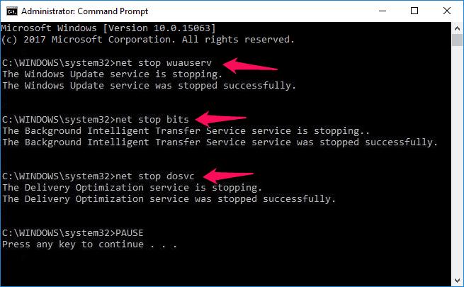 stop windows 10 update download