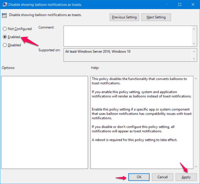enable balloon notification using group policy editor