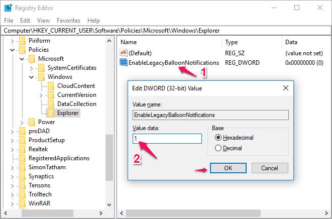enable balloon notification using registry editor