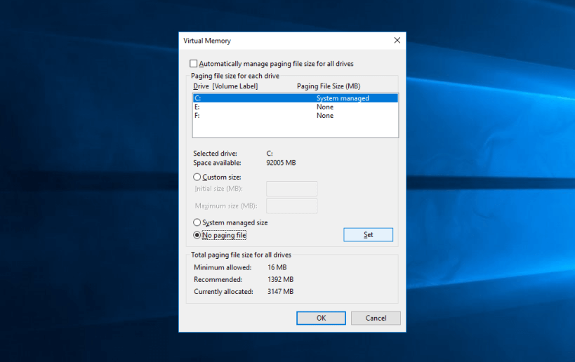 how to disable pagefile in windows 10