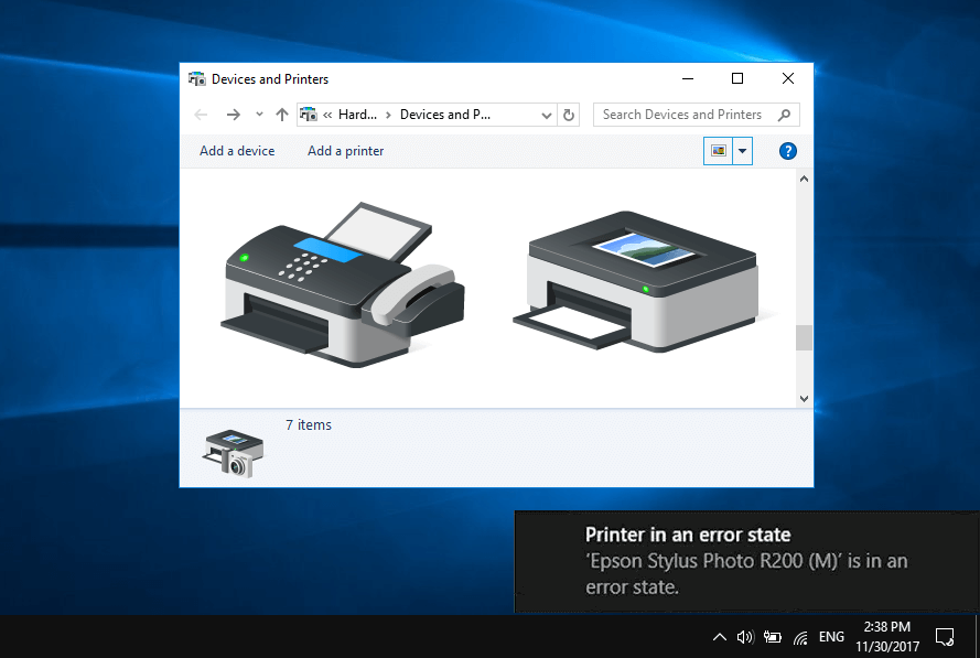 how to fix printer in error state on windows 10