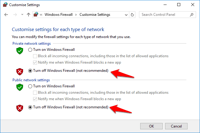 turn off windows firewall