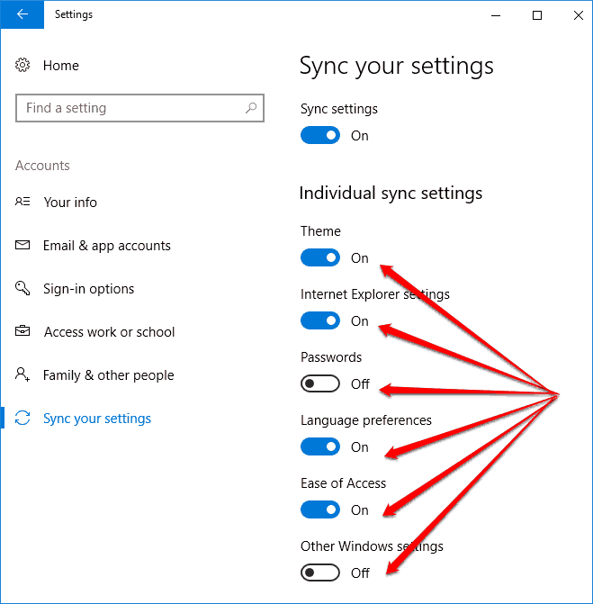 turn on sync for individual settings