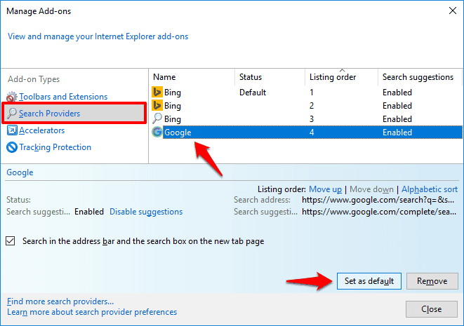 how to change default search engine in internet explorer 11