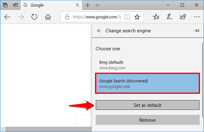 how to change the default search engine in microsoft edge to google