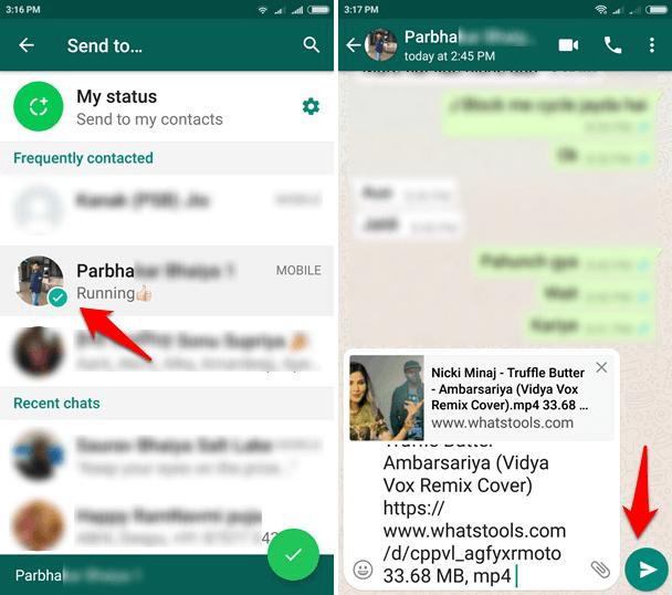 how to send large video file through whatsapp on android