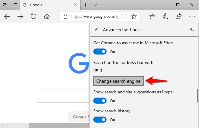 how to set google as default search engine on microsoft edge