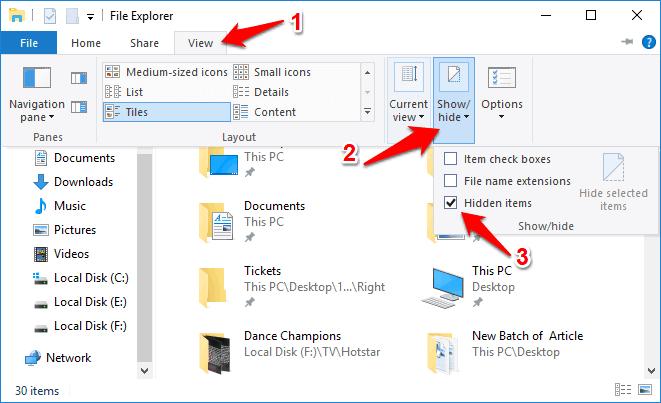 how to show hidden files windows 10