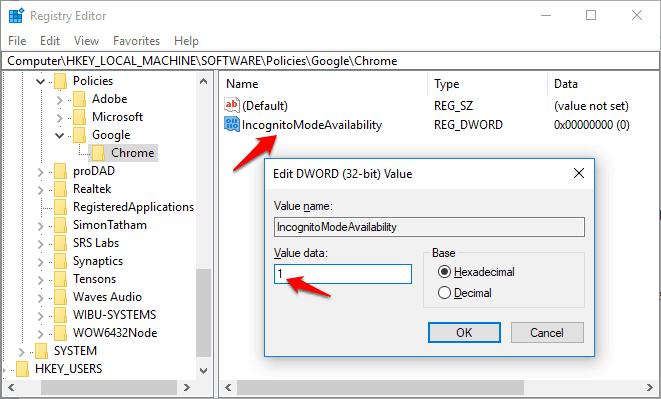 Chrome: Disable Incognito Mode