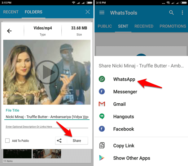 sending large video files via whatsapp