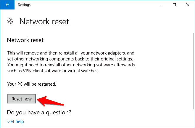 how to reset network adapter in windows 10