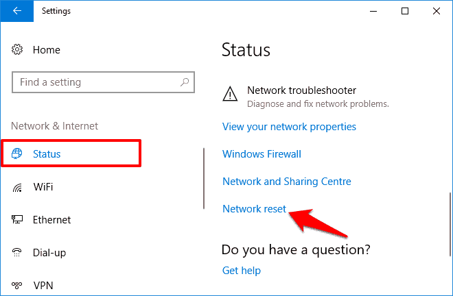 network reset windows 10