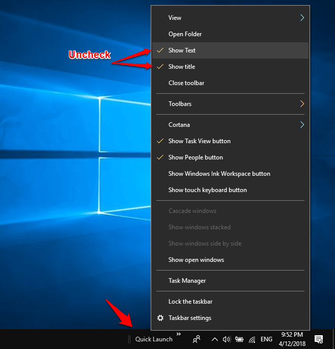 add quick launch to windows 10
