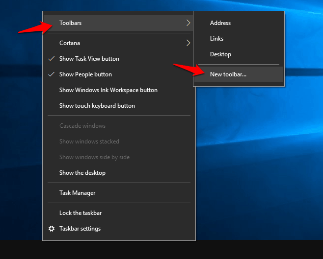 add quick launch toolbar