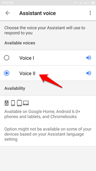 how to switch between female and male google assistant voices