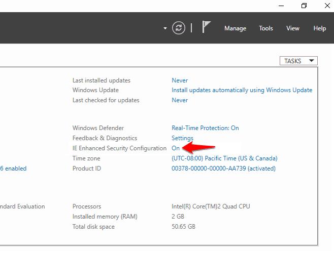 internet explorer enhanced security configuration