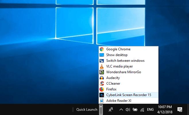 quick launch windows 10