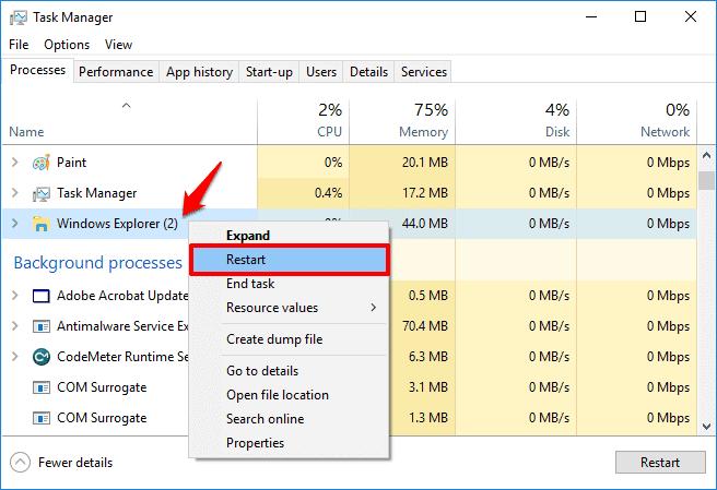 restart file explorer