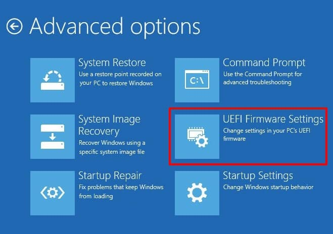 uefi firmware settings